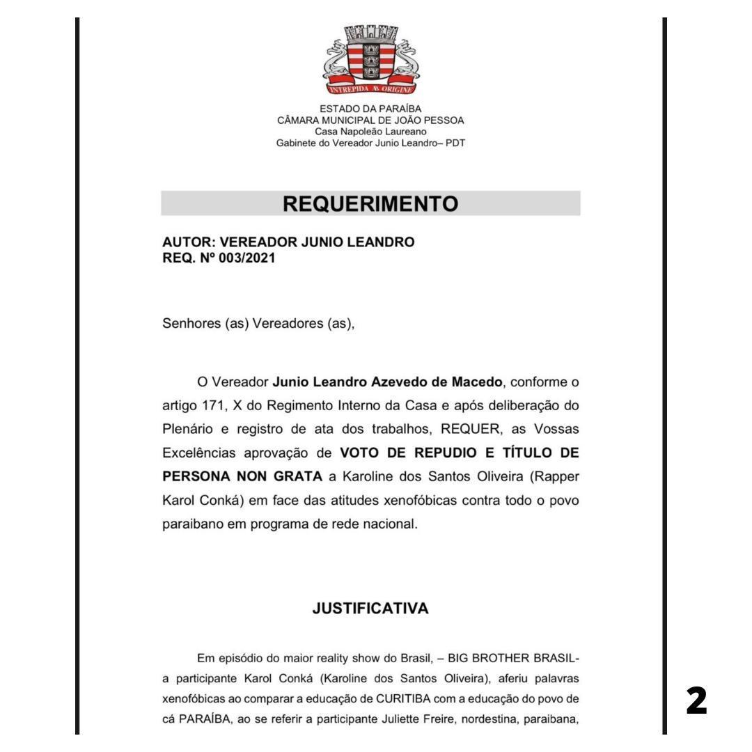 WhatsApp Image 2021 02 22 at 17.06.01 - PERSONA NON GRATA! Vereador protocola na câmara de João Pessoa voto de repúdio a rapper Karol Conká