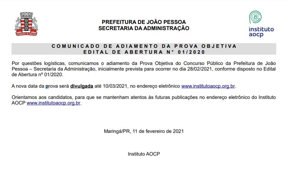 banca organizadora adia prova do concurso da prefeitura de joao pessoa - Banca organizadora adia prova do concurso da Prefeitura de João Pessoa