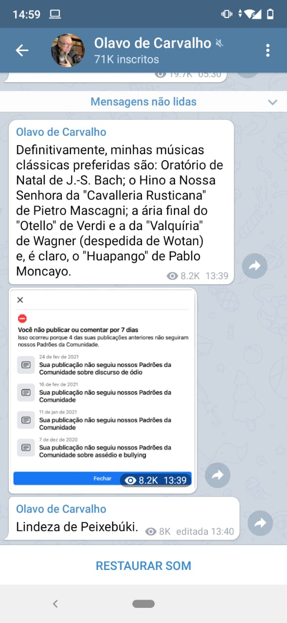 c8ae467c 45b0 4ab6 a4ca 4717af1468ca - DISCURSO DE ÓDIO: Conta de Olavo de Carvalho é suspensa do Facebook