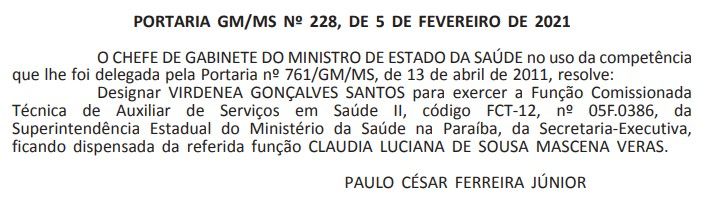claudia veras 1 - DIÁRIO OFICIAL: Cláudia Veras é exonerada de cargo no Ministério da Saúde