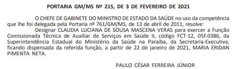 claudia veras - Investigada na Calvário, ex-secretária de Saúde é nomeada para ocupar cargo no Ministério da Saúde- VEJA DOCUMENTO