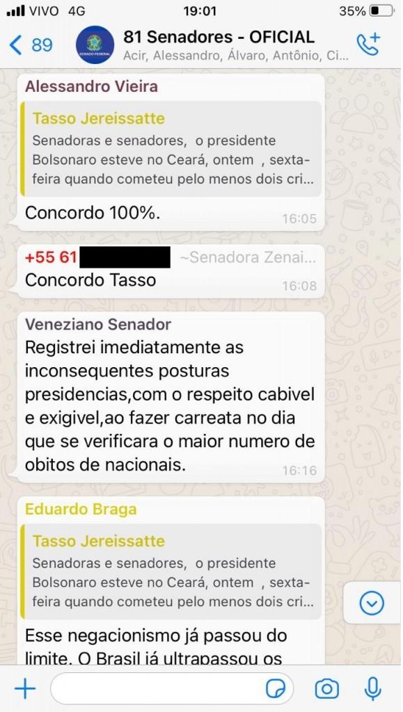print tasso 2 - Senadores de oito partidos falam em CPI e impeachment de Bolsonaro devido à covid-19 - VEJA PRINTS