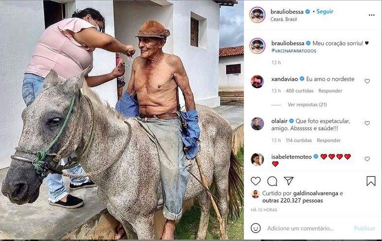 Capturar 14 - DANDO EXEMPLO: Imagem de idoso paraibano recebendo vacina em cima de cavalo viraliza na internet