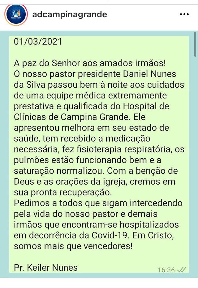 WhatsApp Image 2021 03 01 at 19.50.20 - Presidente da Assembleia de Deus em Campina Grande testa positivo para Covid-19 e faz fisioterapia respiratória