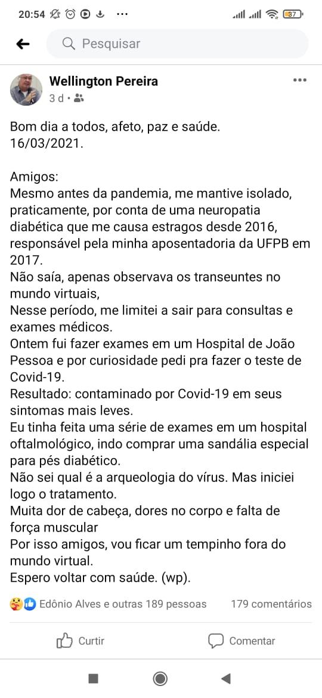 WhatsApp Image 2021 03 19 at 22.15.49 - COVID: morre o jornalista e professor aposentado da UFPB Wellington Pereira