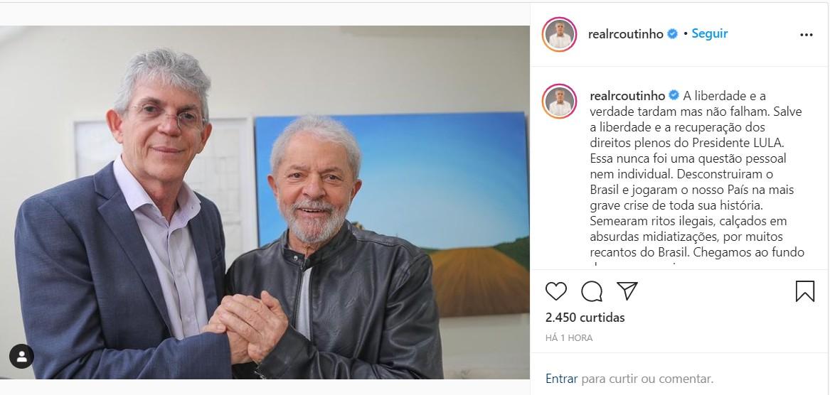 """imagem 2021 03 08 212409 - Ricardo Coutinho: """"Salve a liberdade e a recuperação dos direitos plenos do Presidente Lula"""""""