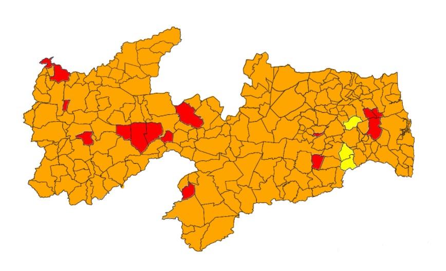mapa avaliação - Novo decreto estadual valerá para 220 dos 223 municípios paraibanos; veja quem fica de fora