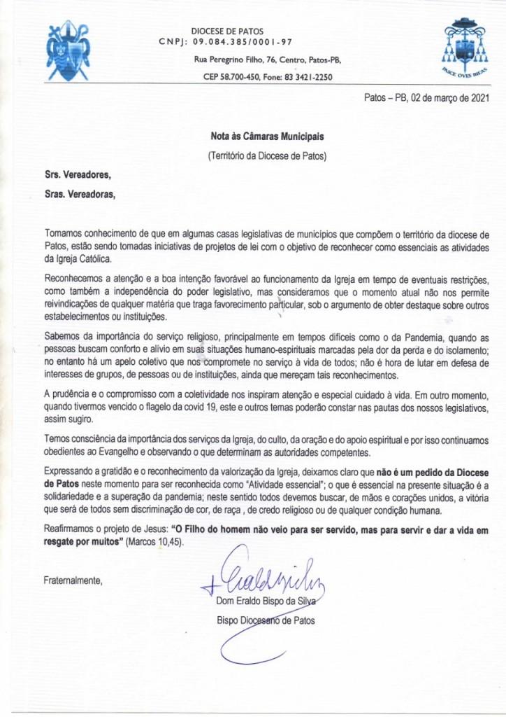 whatsapp image 2021 03 05 at 081419 - Bispo de Patos envia carta às Câmaras municipais afirmando ser contra tornar igreja atividade essencial