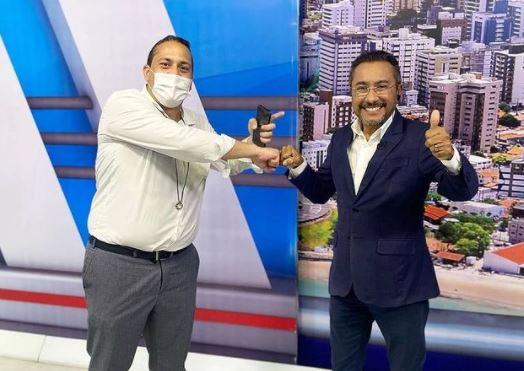 33 1 - Ao lado de Samuka Duarte, Victor Freitas anuncia que estará diariamente na TV Arapuan pelos próximos dias