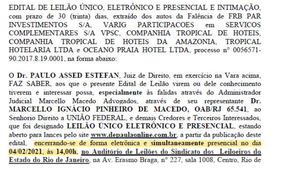 999 - DESTINO DO HOTEL TAMBAÚ: TJ do Rio decide que o Grupo Gaspar apresentou lance fora do horário e grupo Galdino comemora a vitória