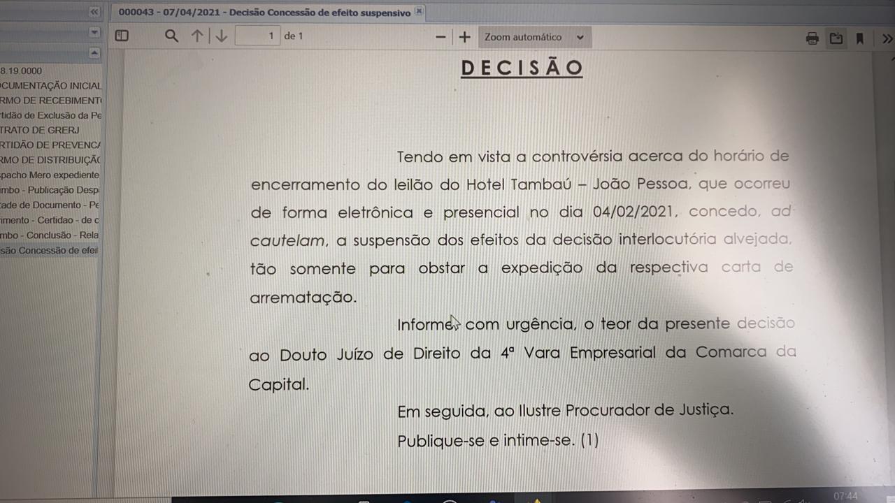 9c53b6c6 4a6e 479b 96cd 7ebf7a5532a5 - DESTINO DO HOTEL TAMBAÚ: TJ do Rio decide que o Grupo Gaspar apresentou lance fora do horário e grupo Galdino comemora a vitória
