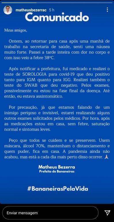 Screenshot 20210413 175054 Instagram 396x768 1 - Prefeito de Bananeiras testa positivo para Covid-19