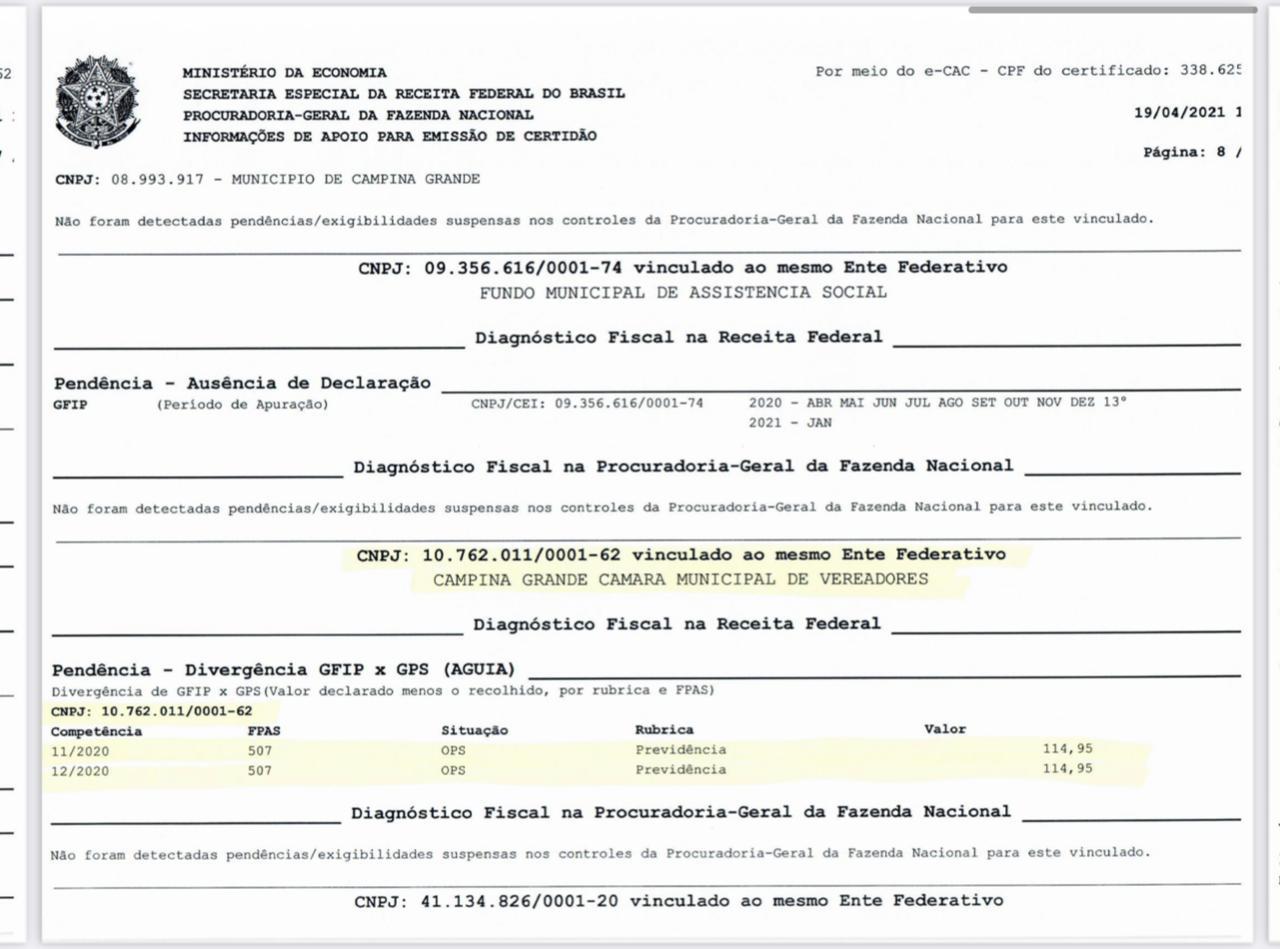 WhatsApp Image 2021 04 19 at 20.29.39 - Presidente da CMCG, vereador Marinaldo Cardoso,esclarece alerta do Tribunal de Contas do Estado da Paraíba, recebido nesta segunda-feira