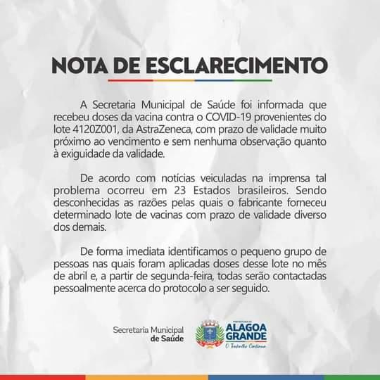 WhatsApp Image 2021 04 25 at 14.52.13 - Saúde de Alagoa Grande se pronuncia sobre aplicação de doses vencidas da vacina AstraZeneca