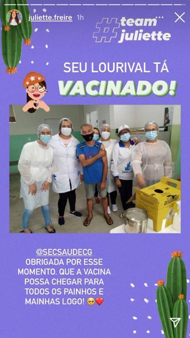 WhatsApp Image 2021 04 06 at 18.15.17 - IMUNIZAÇÃO: Pai de Juliette é vacinado contra Covid-19 em Campina Grande