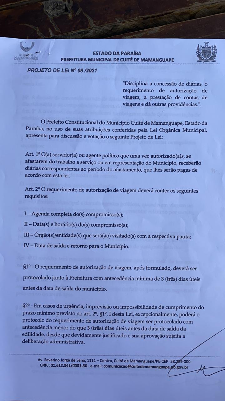 c78dcedc 24ad 45df 8c1b ed61c3baad6b - EM PLENA PANDEMIA: Câmara Municipal de Cuité de Mamanguape aprova aumento de até R $1.400 para diárias de hospedagens do prefeito; veja o documento