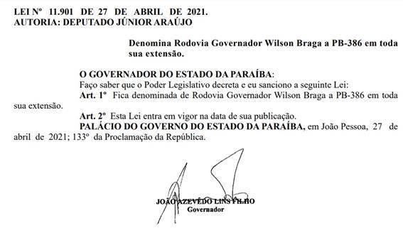 doe - Rodovia Governador Wilson Braga é o novo nome da PB-386, entre Conceição e Itaporanga