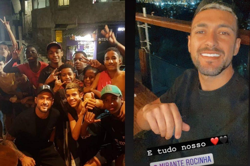 Arrascaeta na Rocinha 1024x683 1 - Arrascaeta, do Flamengo, sobe Rocinha de moto e sem capacete - VEJA VÍDEO