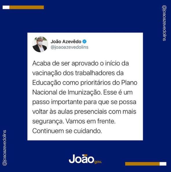 Capturar.JPGbb  1 - VACINAÇÃO: João Azevedo anuncia que trabalhadores da Educação estão incluídos em grupos prioritários do Plano Nacional de Imunização
