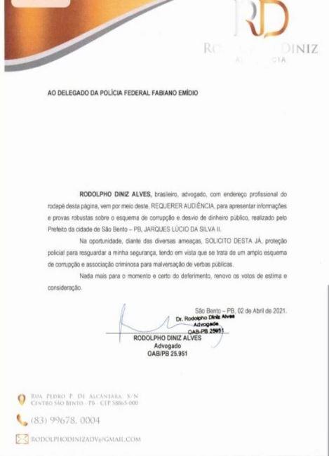 Capturar.JPGfbn - ESQUEMA DE CORRUPÇÃO: Advogado denuncia prefeito de São Bento à PF e pede proteção policial