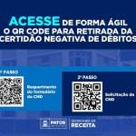 QR Code - Prefeitura de Patos disponibiliza QR Code para requerimento e solicitação de CND