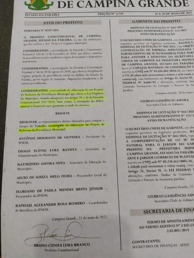 WhatsApp Image 2021 05 29 at 13.32.55 - Bruno cria comissão que visa privatizar sistema de previdência de Campina Grande