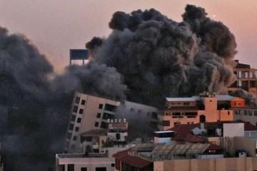 d933b02ddfa62d552246b21bf9d178d7 - Prédio de 13 andares é destruído e cai ao ser atingido por um míssil no Oriente Médio
