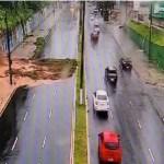deslizamento epitacio - Câmera flagra momento exato do deslizamento de terra na Av. Epitácio Pessoa - ASSISTA