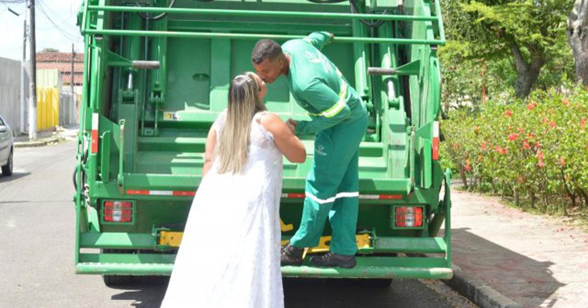 ensaio casamento caminhao capa - Noiva faz ensaio de casamento em caminhão de lixo para homenagear profissão do marido