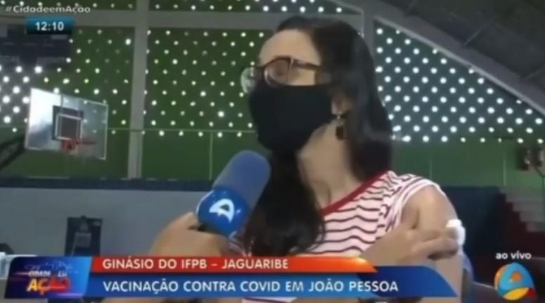 """gin - Desabafo de paraibana durante vacinação repercute na mídia nacional, """"Fora Bolsonaro"""" - VEJA VÍDEO"""