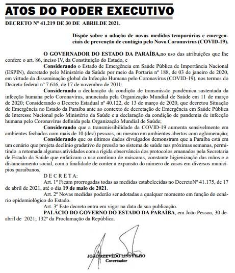 joao azevedo decreto diario - DIÁRIO OFICIAL: João Azevêdo prorroga decreto com medidas restritivas contra a Covid-19 - RELEMBRE MEDIDAS