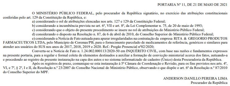 mpf coremas - MPF investiga supostas irregularidades em compras de remédios por prefeitura da PB - VEJA DOCUMENTO