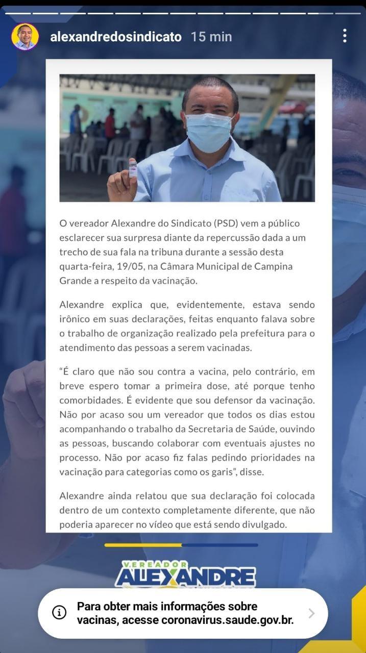"""nota vereador - VOLTOU ATRÁS: após declarar ser """"negativista"""", vereador de CG diz que foi irônico"""