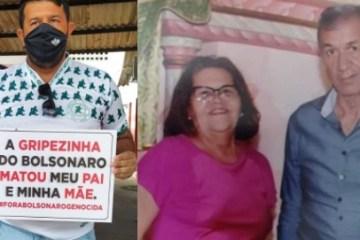 """3268 - Palmeirense ergue placa na hora de se vacinar: """"A gripezinha do Bolsonaro matou meu pai e minha mãe"""""""