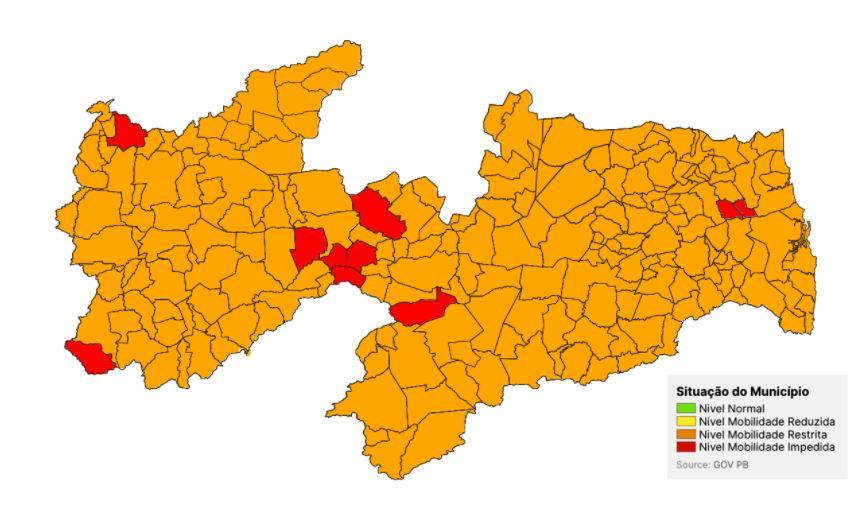 POLEICA - Estado divulga nova avaliação e Paraíba tem 213 municípios em bandeira laranja e 10 na cor vermelha; Confira lista