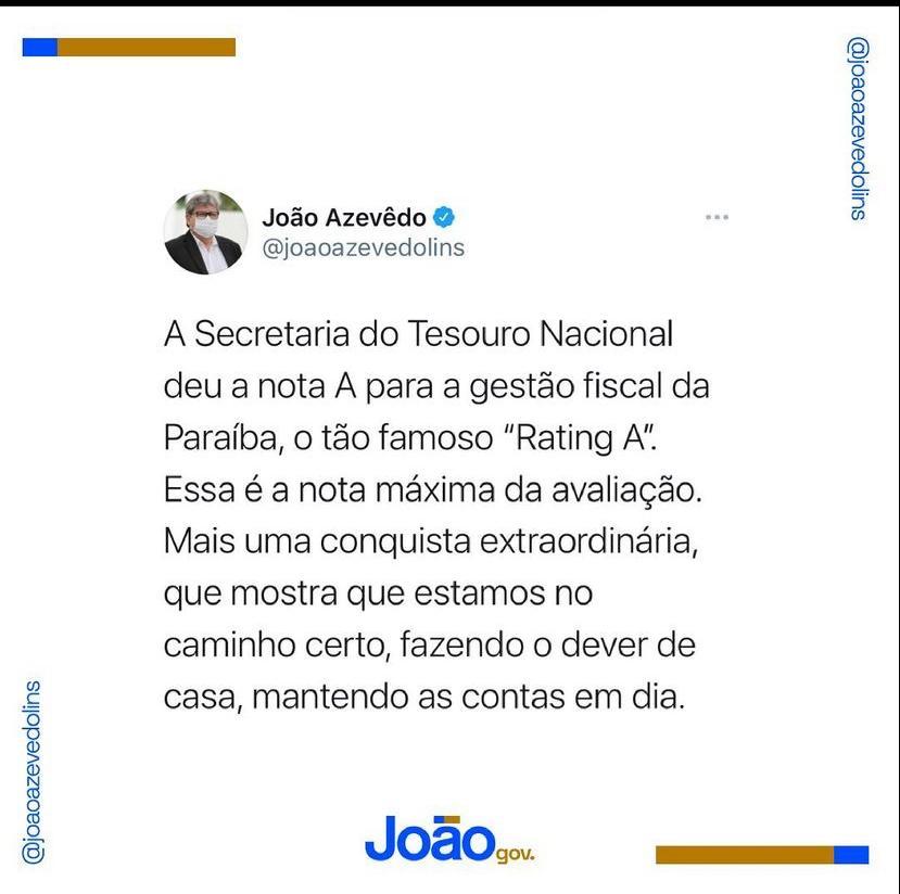 WhatsApp Image 2021 06 10 at 21.34.40 - Paraíba conquista rating A do Tesouro Nacional e consolida equilíbrio financeiro e capacidade de atração de investimentos nas esferas de governo e de mercado