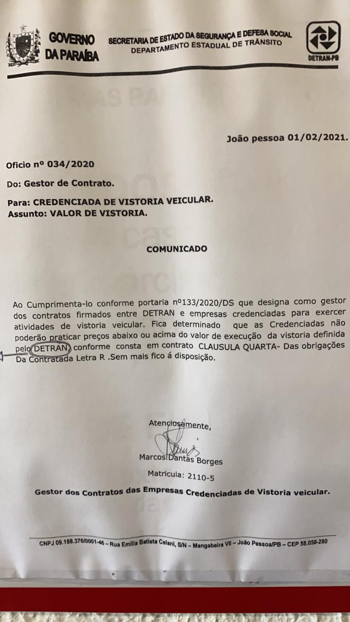 WhatsApp Image 2021 06 11 at 09.41.38 - CONCORRÊNCIA DESLEAL: Empresa de vistoria veicular, NIVE, é punida pelo DETRAN-PB após descumprimento de contrato