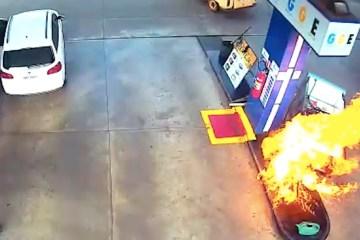 SUSTO! Cliente dá partida, carrega mangueira sem perceber e bomba pega fogo em posto de combustível – VÍDEO VÍDEO