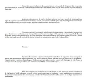 decisao print 2 300x263 - Justiça indefere pedido da prefeitura de Campina Grande e mantém academias fechadas - CONFIRA DECISÃO