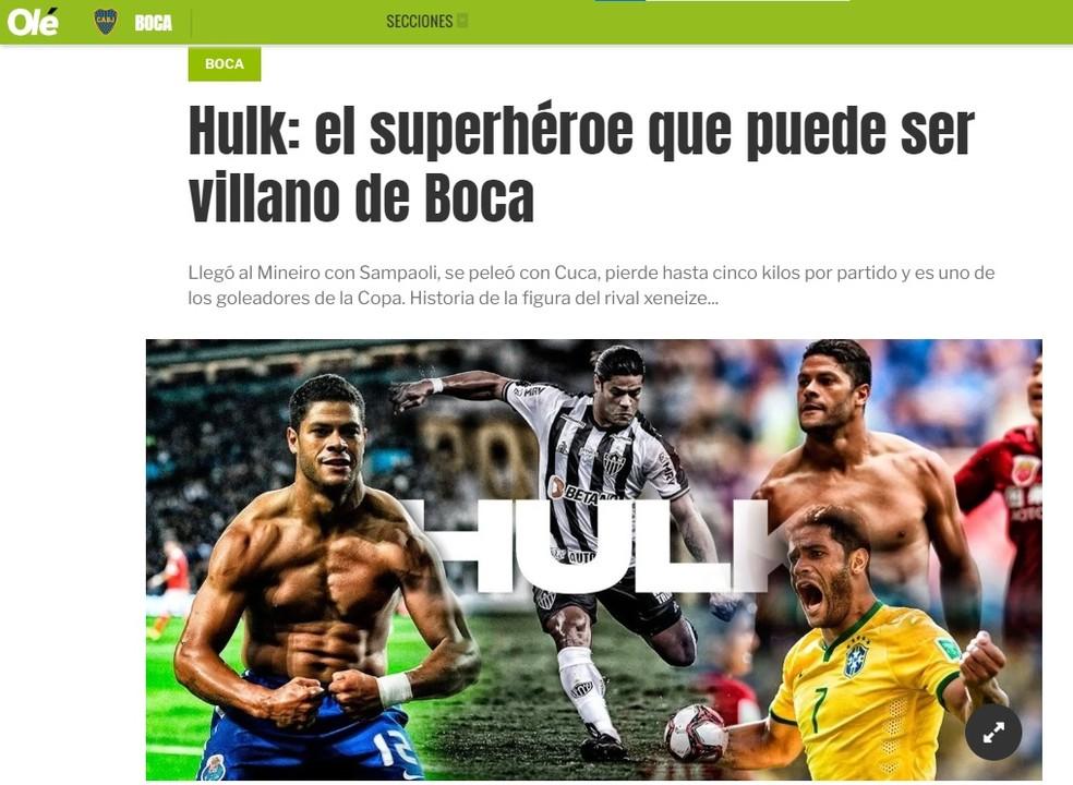 """hulk no ole - """"Super-herói que pode ser vilão"""": Paraibano Hulk é destaque em jornal da Argentina"""
