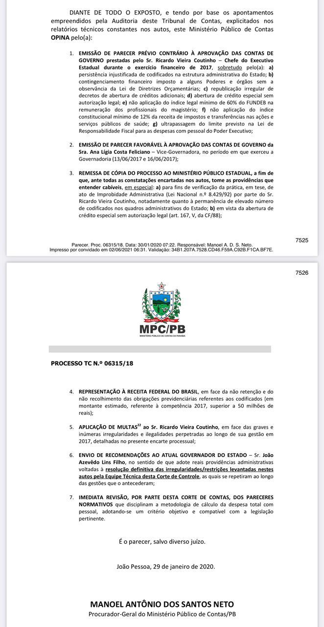 whatsapp image 2021 06 02 at 063505 - TCE julga nesta 6ª feira, contas do ex-governador Ricardo Coutinho referente a 2017; parecer é pela reprovação
