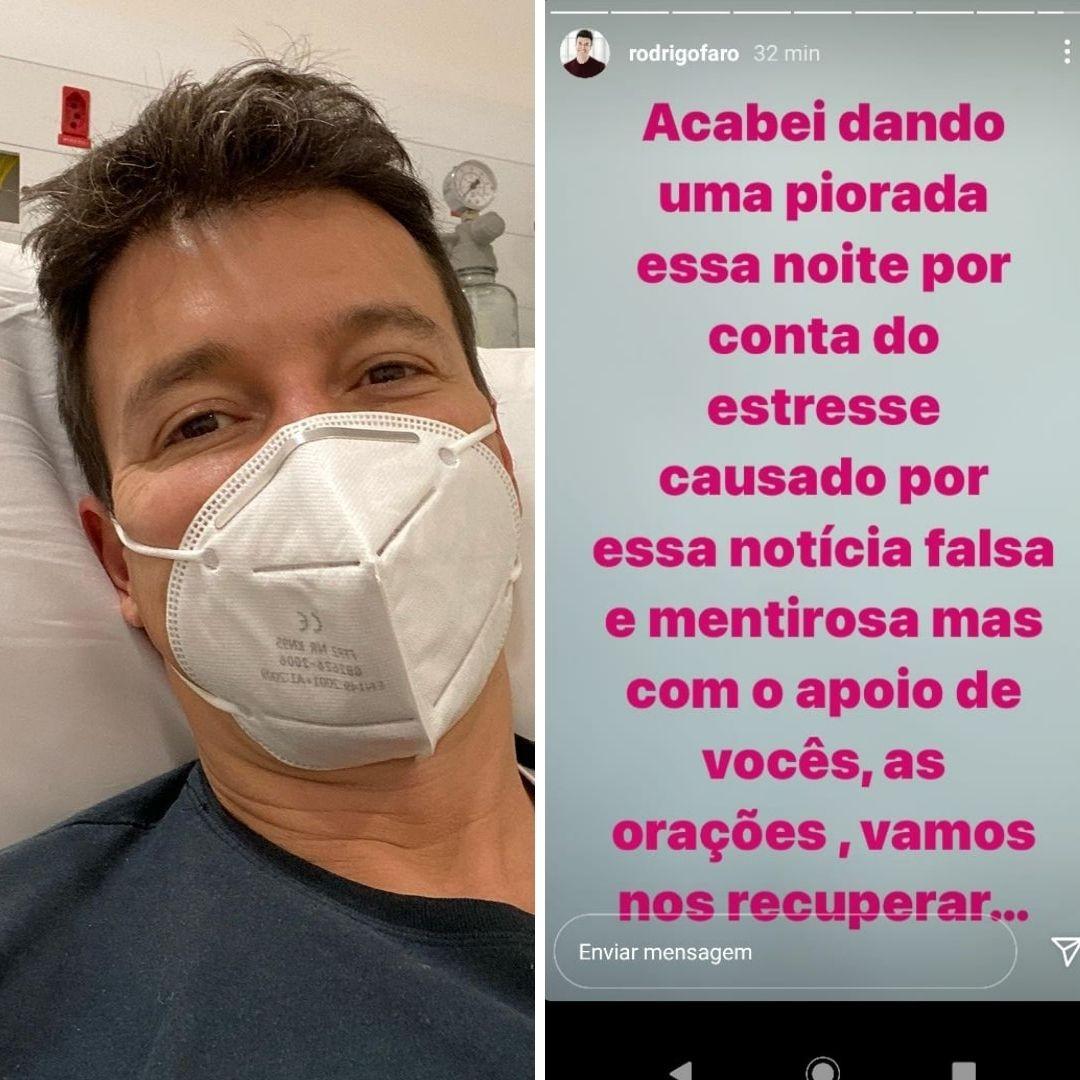 """rodrigo faro - Com Covid-19: Rodrigo Faro tem piora no quadro após notícia falsa de que se negou a fazer teste em gravação: """"Por conta do estresse"""""""