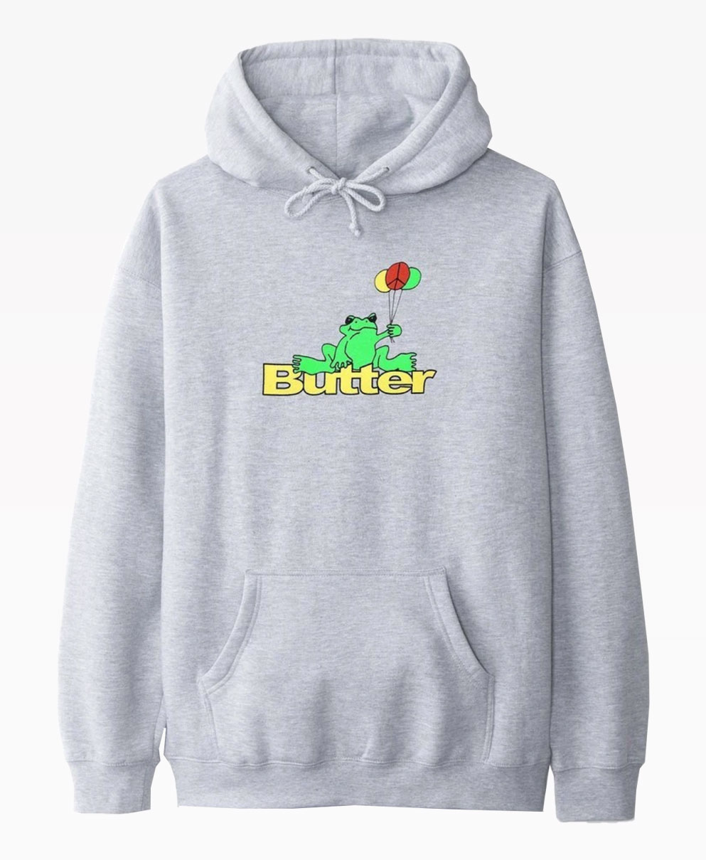 Butter Goods Frog Heather Grey Pullover Front