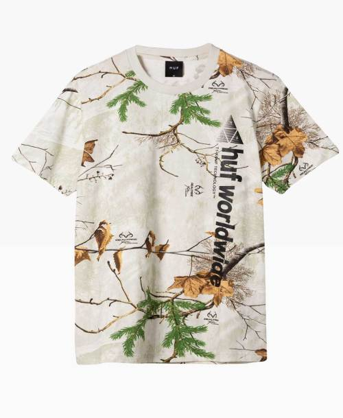 Huf Realtree Peak Logo T Shirt White Front