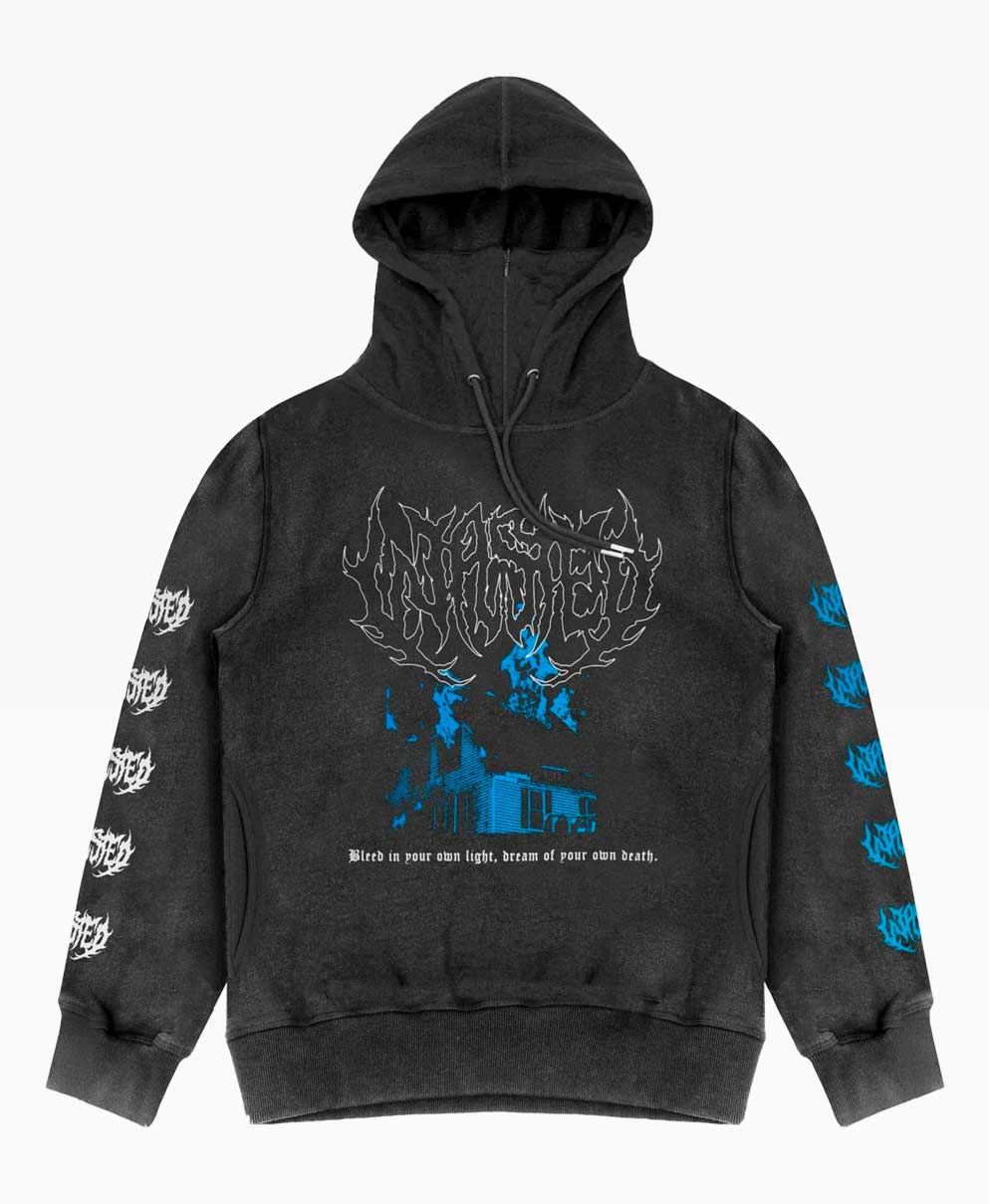 Wasted Oslo 83 Hoodie Washed Black Front