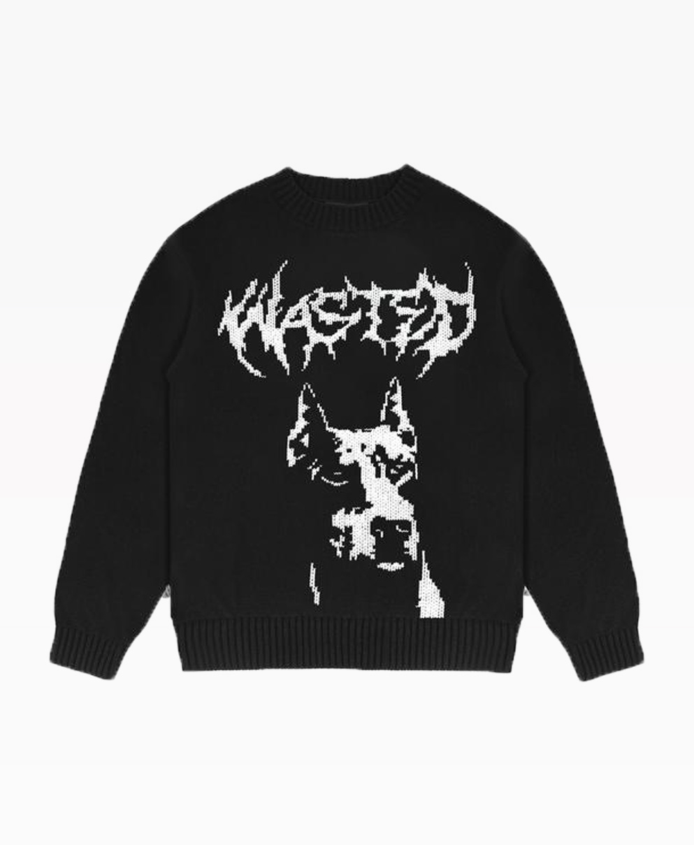 Wasted Sweater Anger Black Front