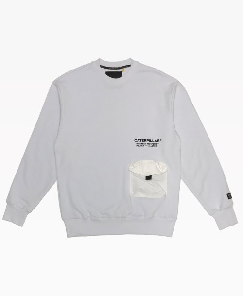 Cat Pocket Crewneck White Front