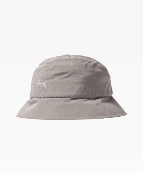 Stussy Outdoor Panel Bucket Hat Grey Front