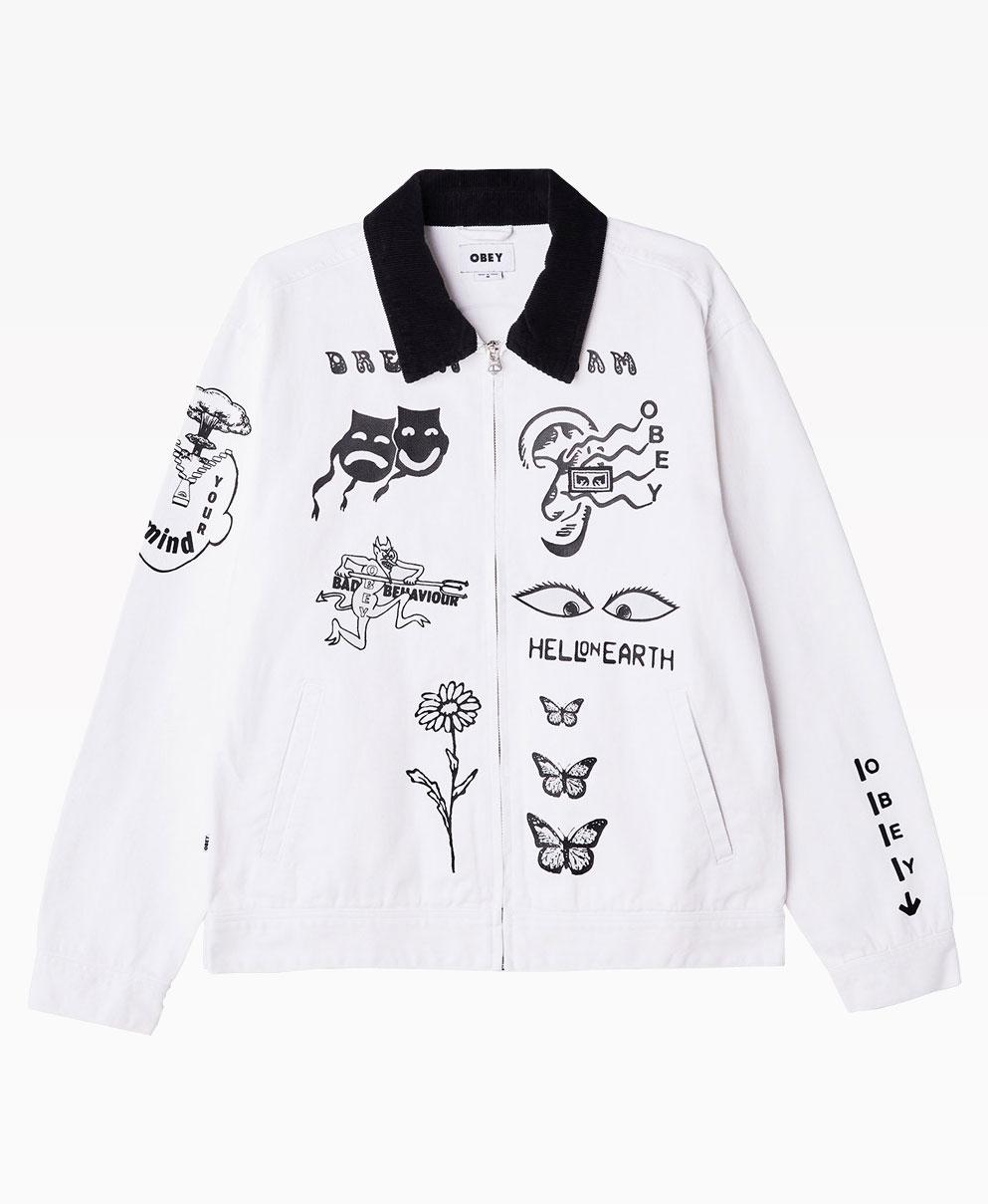 Obey Clothing Dream Twam Denim Jacket White Front