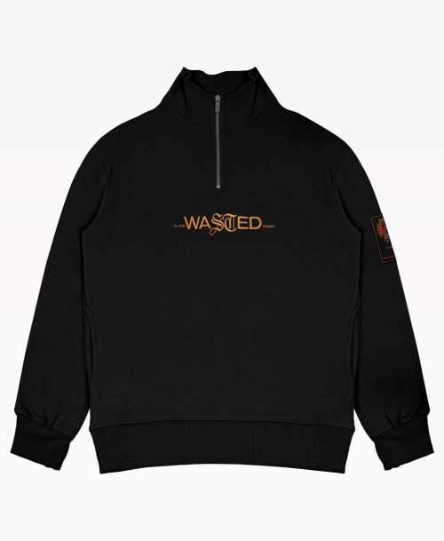Wasted Essentiel Crew Funnel Black Front